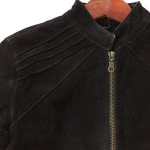 Jackets & Blazers - GENUINE SUEDE LEATHER Black Crop Moto Jacket
